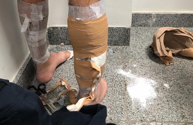 Llevaba cocaína adosada al cuerpo y fue detenido en el Aeropuerto de Foz do Iguazú