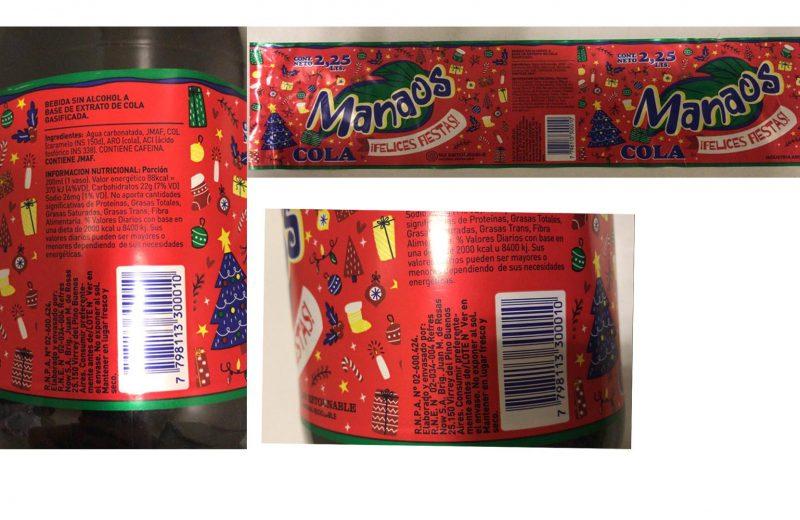 """Retiran del mercado lotes de Manaos Cola """"Felices Fiestas"""""""