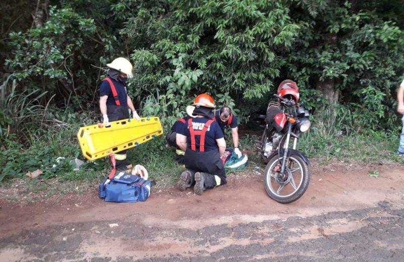 Despistó con su motocicleta en Ruta Nacional N° 12