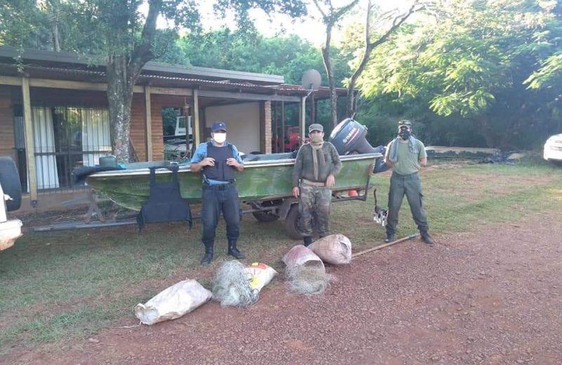 Incautaron redes y elementos de pesca furtiva en el Lago Urugua-í